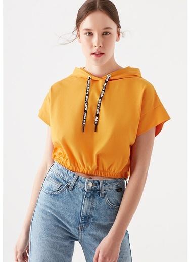 Mavi Kapüşonlu Turuncu Crop Sweatshirt Oranj